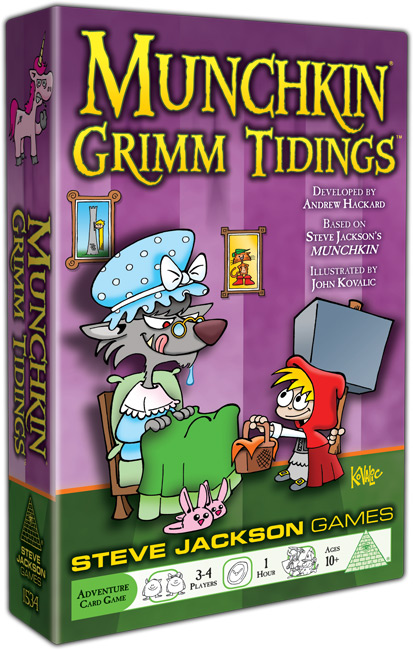 Munchkin Grimm Tidings box showing little red riding hood giving a picnic basket to wolf, a large hammer behind her back