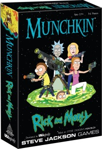 Rick and Morty Munchkin box shows the family coming out of a wormhole armed to the teeth in guns