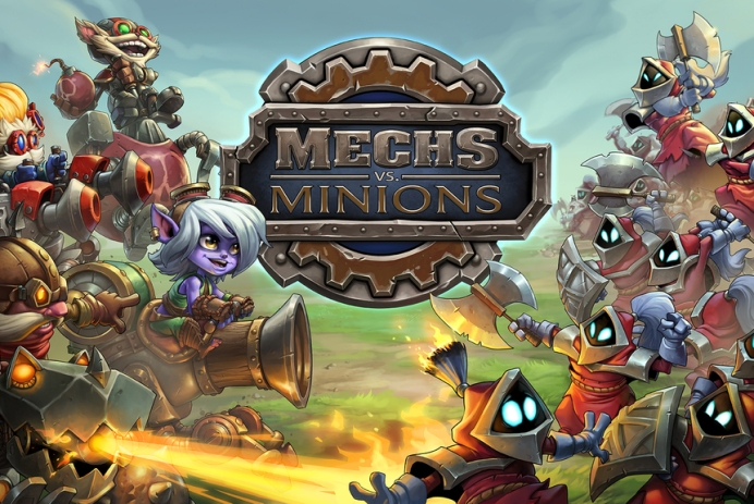 Mechs vs Minions art shows five yordles holding back an army of minions