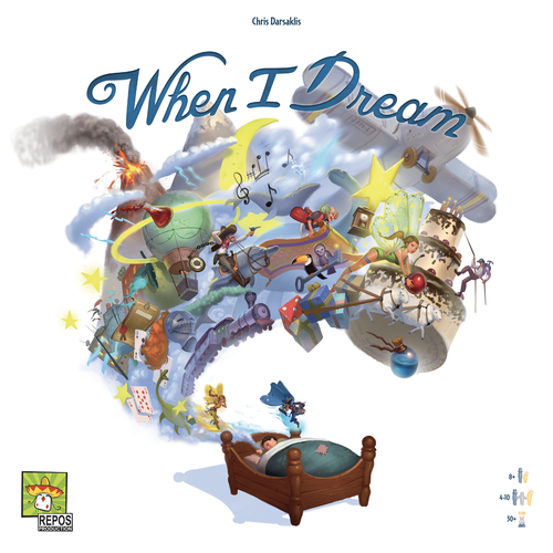 When I Dream box art showing a child sleeping in bed with all sorts of fantastical things flying above.