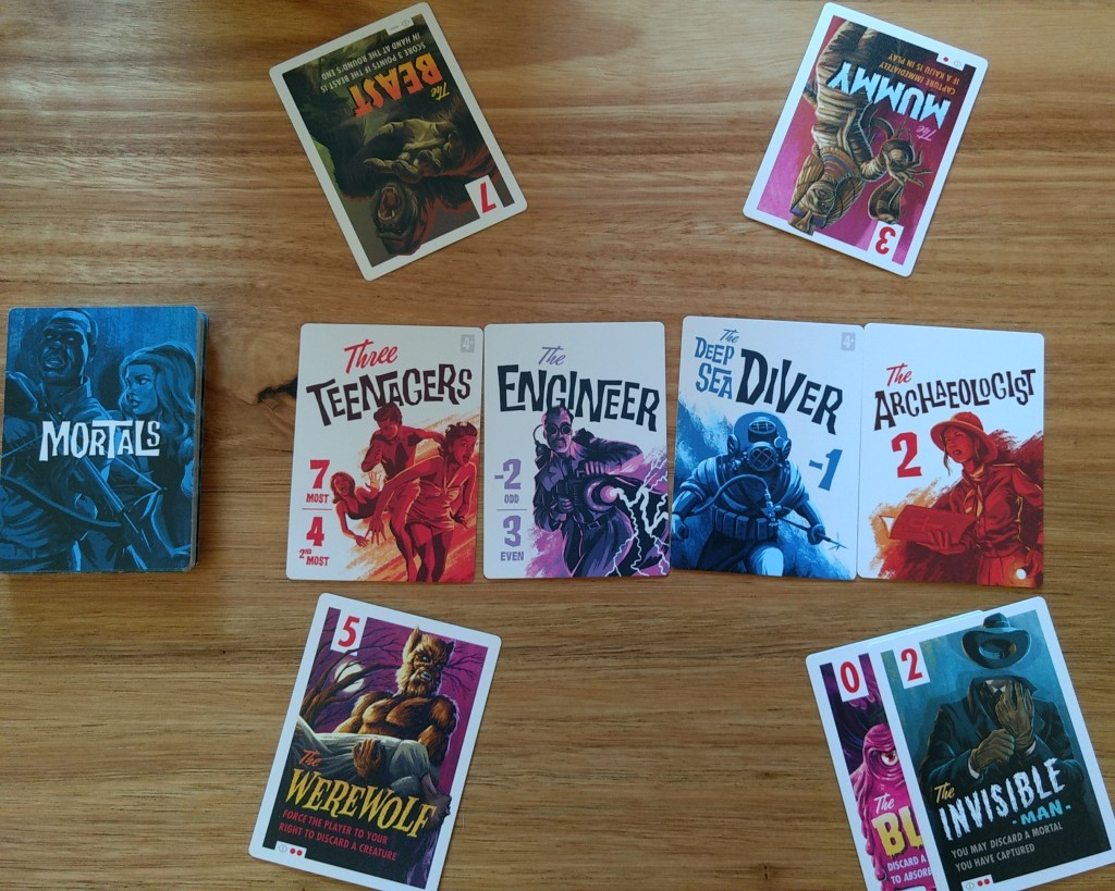 A round of Campy Creatures, the players played The Beast, The Mummy, The Werewolf, and The Invisible Man.