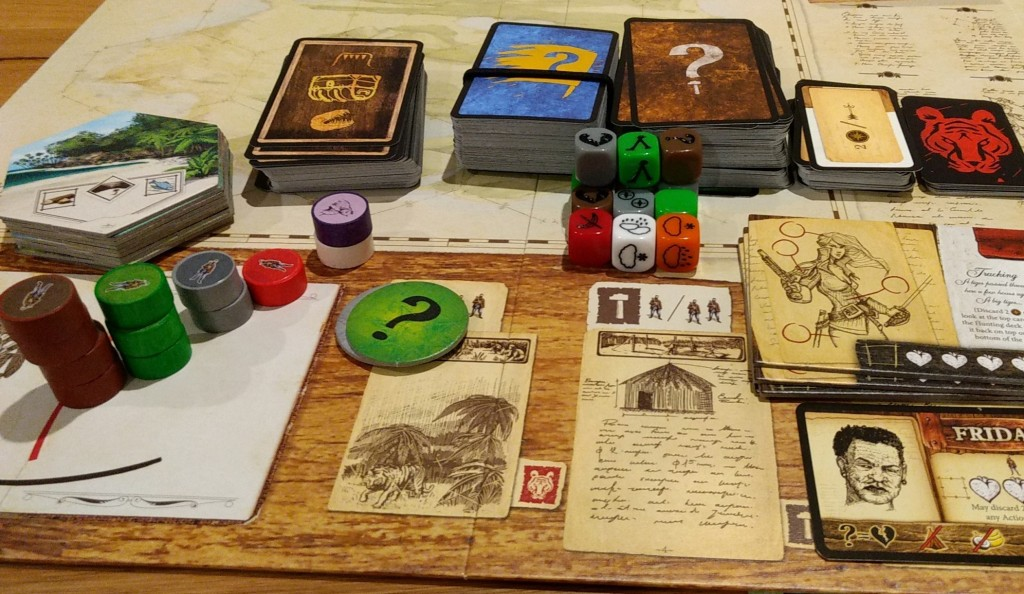 Components of the game, cards, dice, tokens.