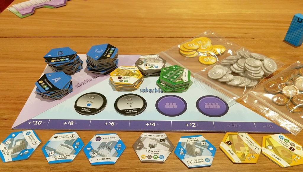 Suburbia market place, shows tiles to buy below the board. With Objectives, and default tiles on the board.