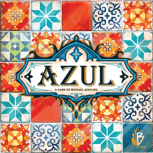 Azul board game cover shows a tiled cover with all the patterns in the game.
