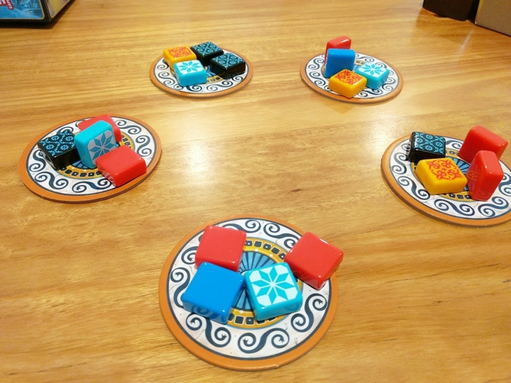 Azul market place, four patterned tiles on five coasters