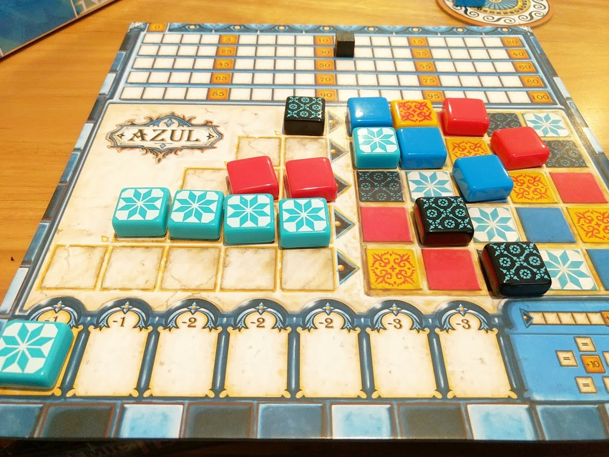 A player board mid game, on the left shows what tiles have been picked this round, on the right it shows completed tiles from previous rounds.