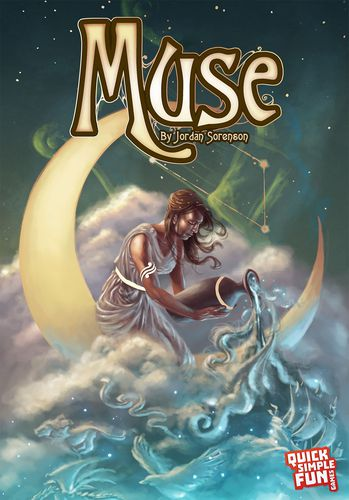 Muse game box art, a woman sits ona crescent moon, pouring out smoke, from an old urn.