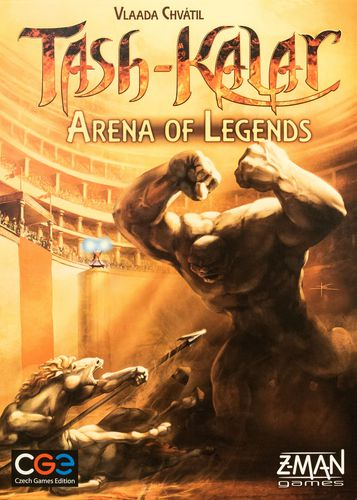 Tash-Kalar Arena of Legends box art, shows two monsters fighting in an arena. It doesn't look good for one of them.