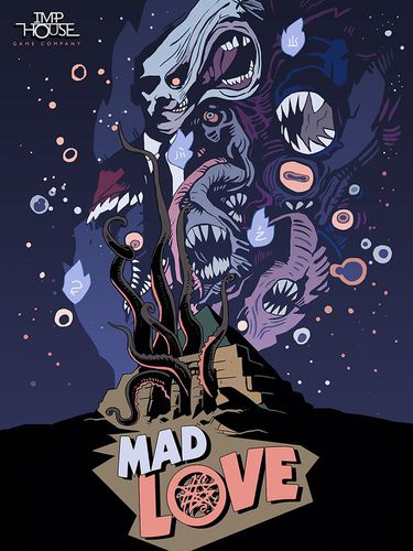 Mad Love box; shows a temple with tentcales coming from it. Above it in the night sky are faces upon faces. It's pretty freaky.