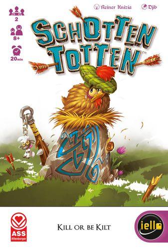Schotten Totten box art, chicken in a Scottish hat sitting on a runed stone.