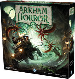 Arkham Horror box art - adventures chased by tentacles in a 1950's buggy