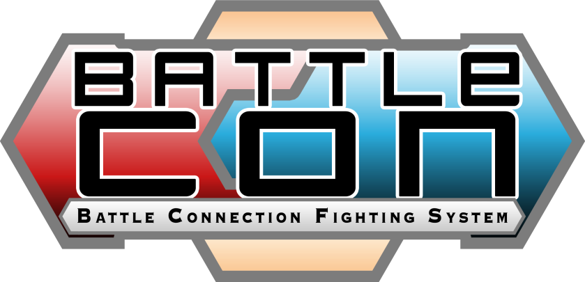 Two sides: red and blue with Battle Con is large font. Sub title: Battle Connection Fighting System