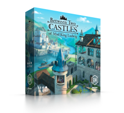 Between two castles of mad king ludwig boxart. Two half built castles with scaffolding are separated by a river with a bridge