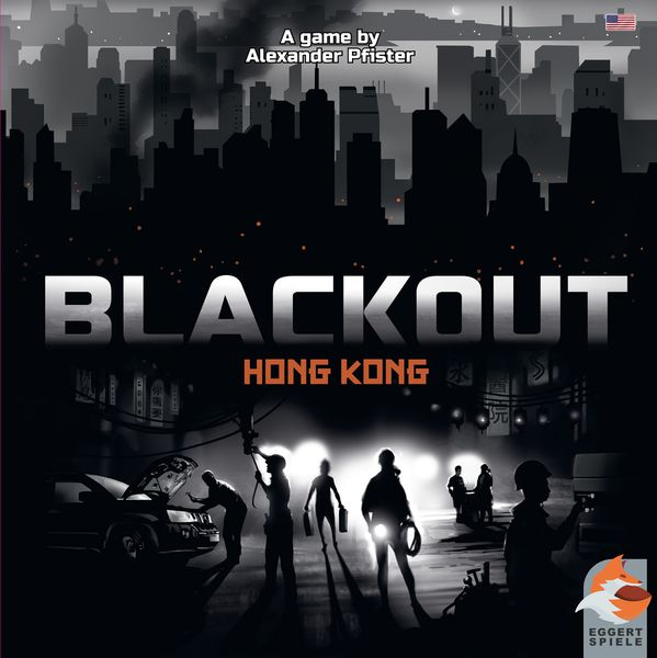 Blackout Board Game Cover. Black city scape with lights from cars and torches.