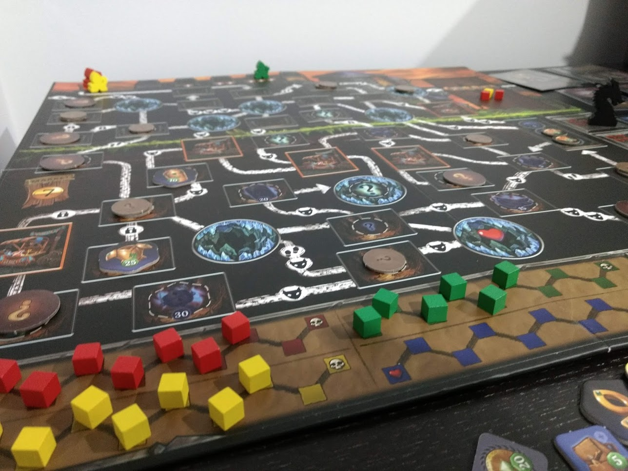 Clank's board after a game, yellow won