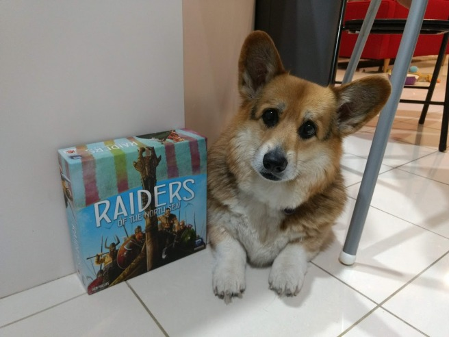 Corgi head tilted next to box of Raiders of the North Sea