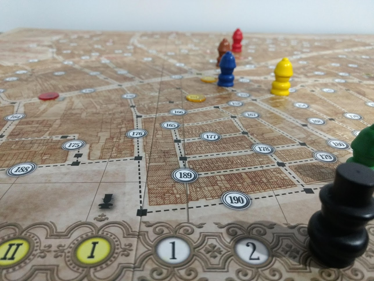 Letters From Whitechapel board setup; game has just begun.