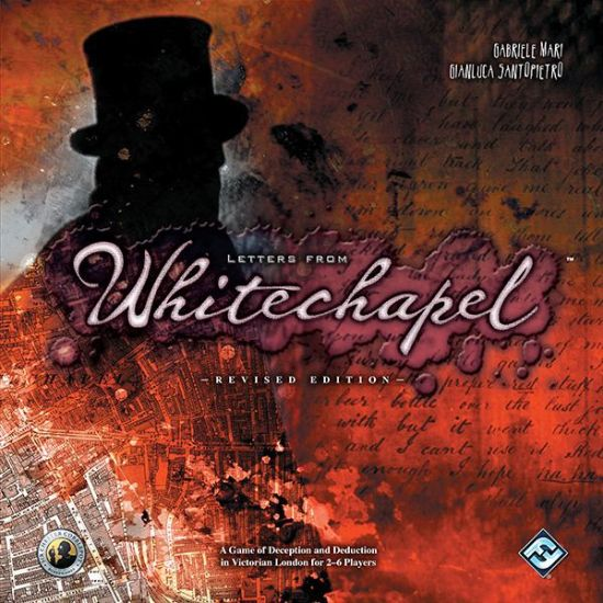Letters from Whitechapel box art. A shadowy figure standing above Whitechapel blueprints.