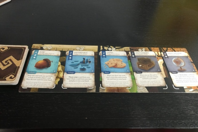 The market place from Dale of Merchants, where cards cost less the further left they are.
