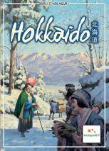 Hokkaido cover. Japanese folk people hike through snowy woods.