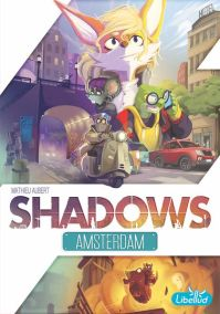 Shadows Amsterdam cover. A mouse on a moped on city streets, the same mouse launches from an exploding building.
