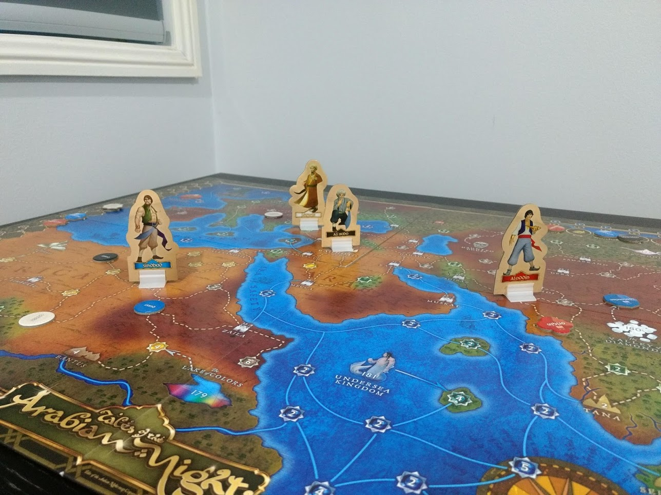 Board of Tales of the Arabian Nights, with cardboard standees of Sinbad, Aladdin, Ali Baba.