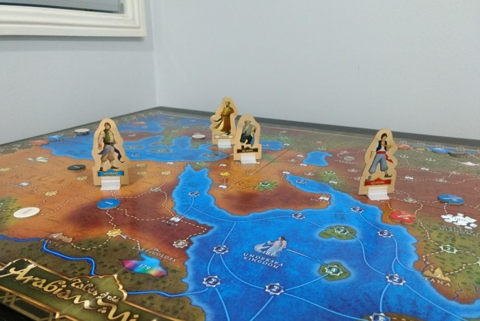 Board of Tales of the Arabian Nights, with cardboard standees of Sinbad, Aladdin, Ali Baba.