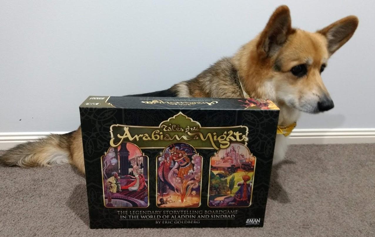 A corgi sitting beside the Tales of the Arabian Nights box