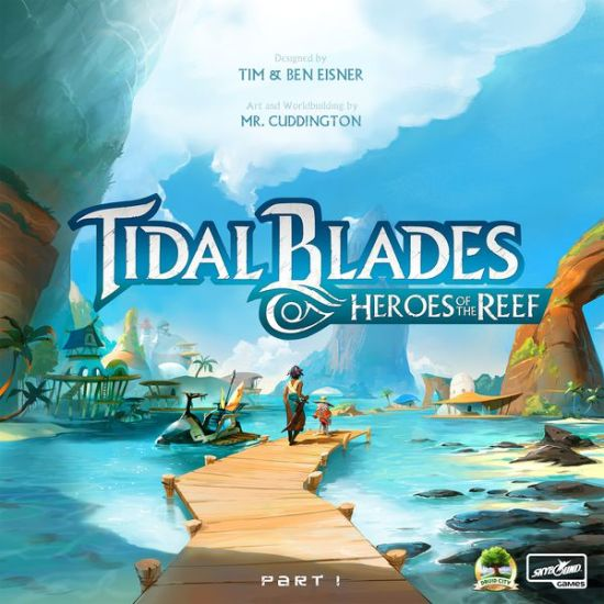 Tidal blades box art. Two figures stand at edge of pier, behind them sunny skies, and island village.