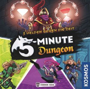 German cover for 5 minute dungeon. It shows the Dungeon Keeper boss, and the hunter, ninja, and sorceress