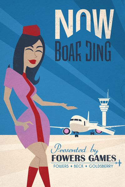 Now Boarding Cover. Air hostess presenting a plane.
