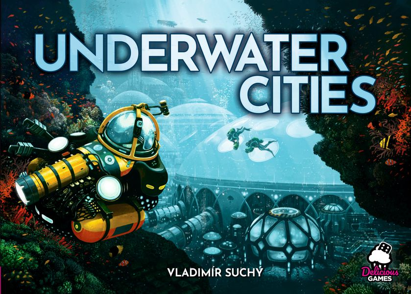 Underwater cities cover, a submarine moving towards a dome like city