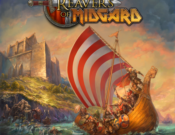 Reavers of Midgard box cover. Vikings, lot's of vikings.