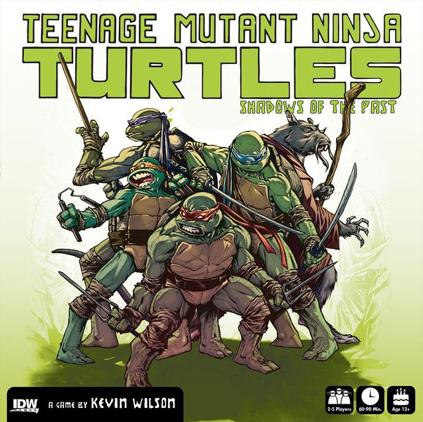 All four of the Teenage Mutant Ninja Turtles, and Master Splinter in battle pose.