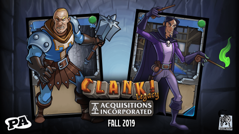 Two Clank cards have come alive! A warrior and wizard emerge from their cards.