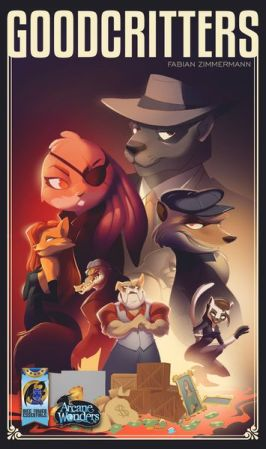 A cast of anthropomorphic thieves on the box of Goodcritters.
