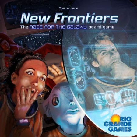 A man, a woman, and a blue fish guy look to the side of the box front of New Frontiers.