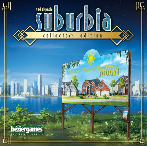 A new development area across from a thriving city on the box of Suburbia: Collector's Edition.