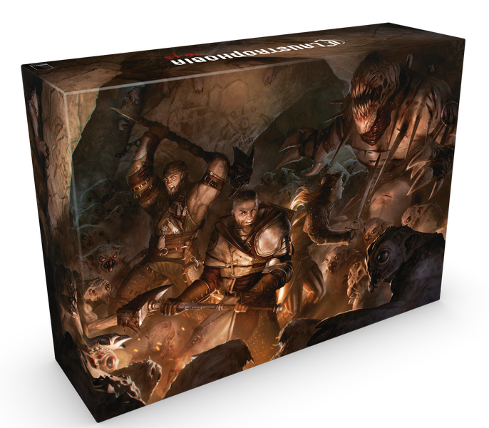 Claustrophobia 1643 box shows three adventurers fighting off a hoard of monsters.