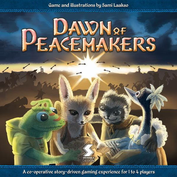 Dawn of the Peacemakers cover, showing a geko, fenic fox, a sloth, and a bird looking at a map while armies fight in the background.