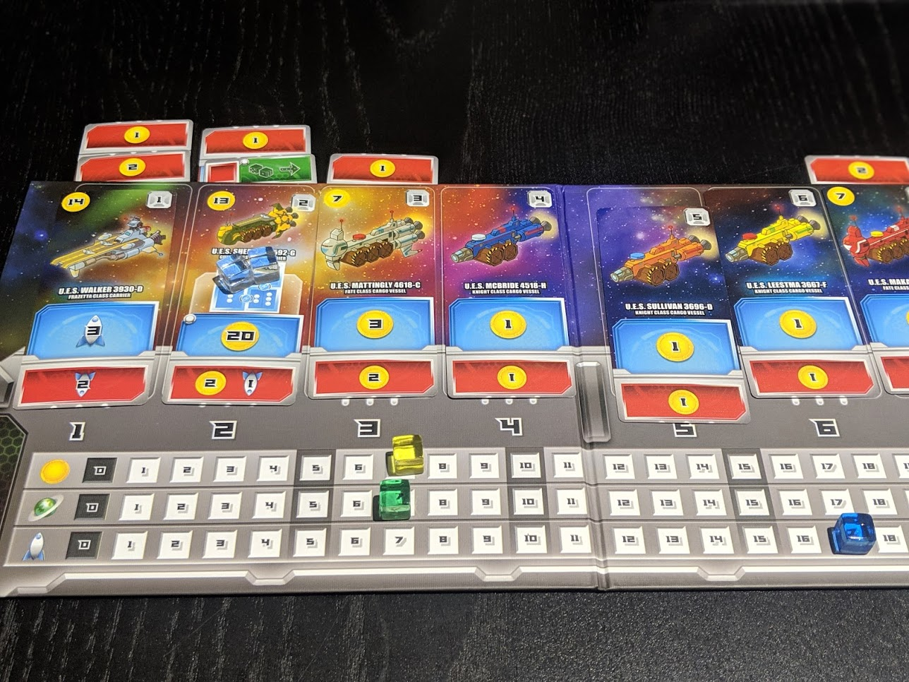 A Space Base player board mid way through the game.