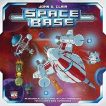 Picture of Space Base's cover. A lot of rocket ships flying away from a satellite.
