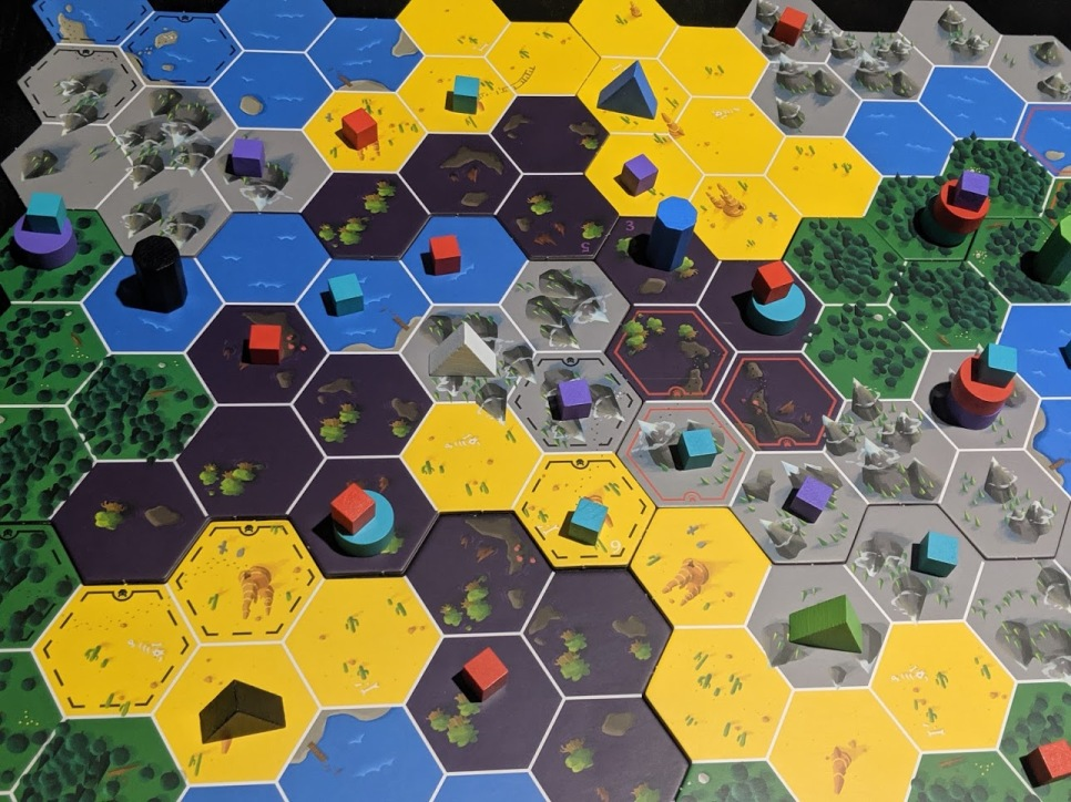 Top down view of the map. Discs represent where a monster could be, cubes represent where the monster could not.
