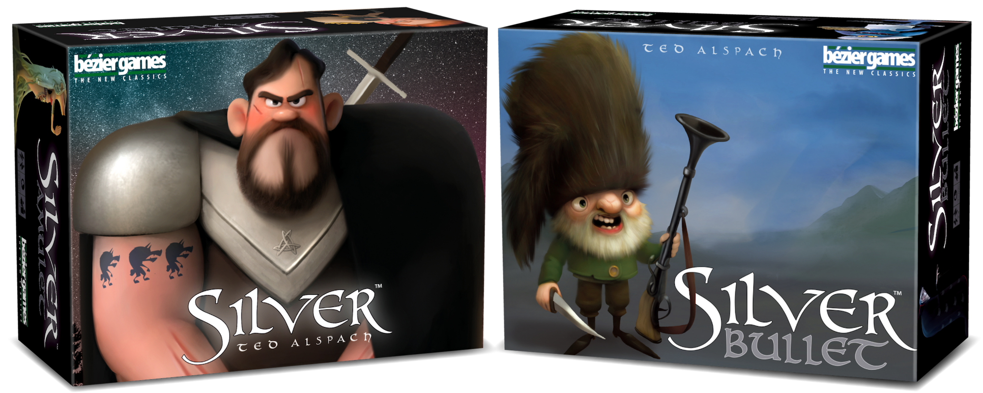 The box covers for Silver, and Silver Bullet. Two new games from Ted Alspach and Bezier Games.