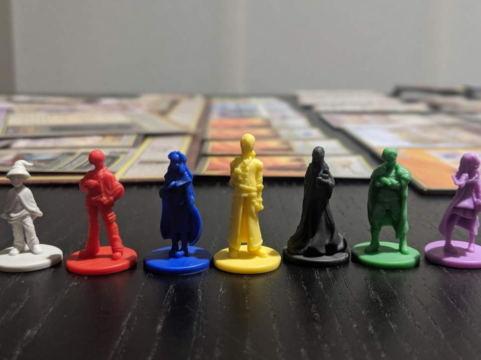 An up close picture of all the types of miniatures within the game.