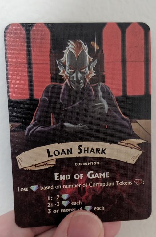 Depiction of the loan shark. A shady man sitting behind a desk flicking a coin.