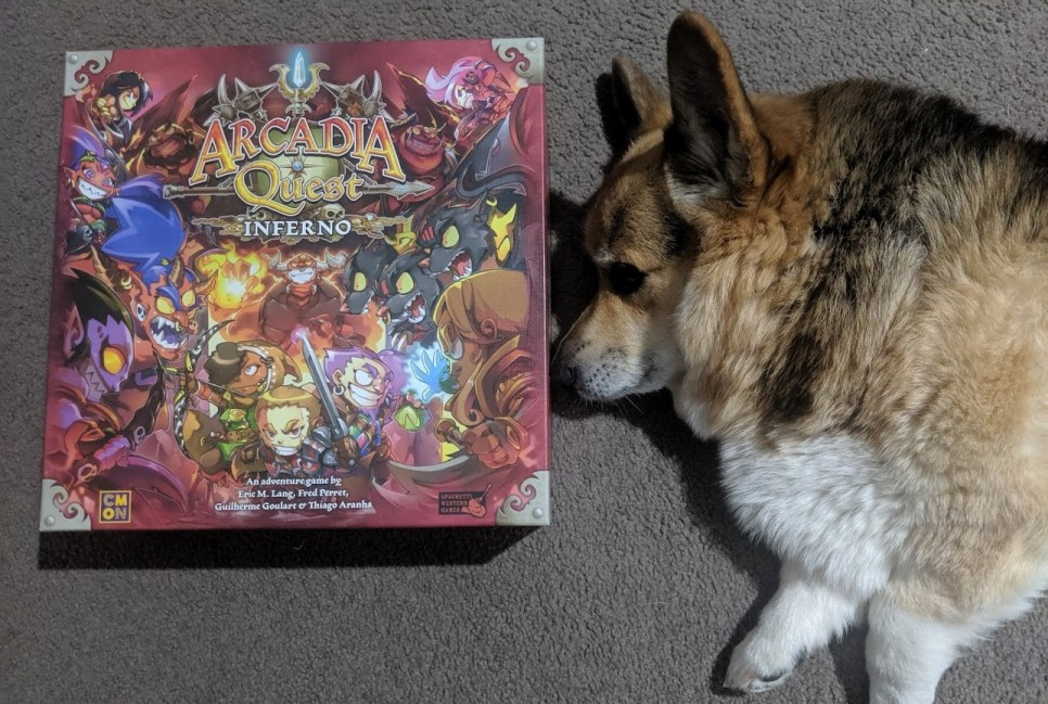 Cute corgi noses Arcadia Quest Inferno box.