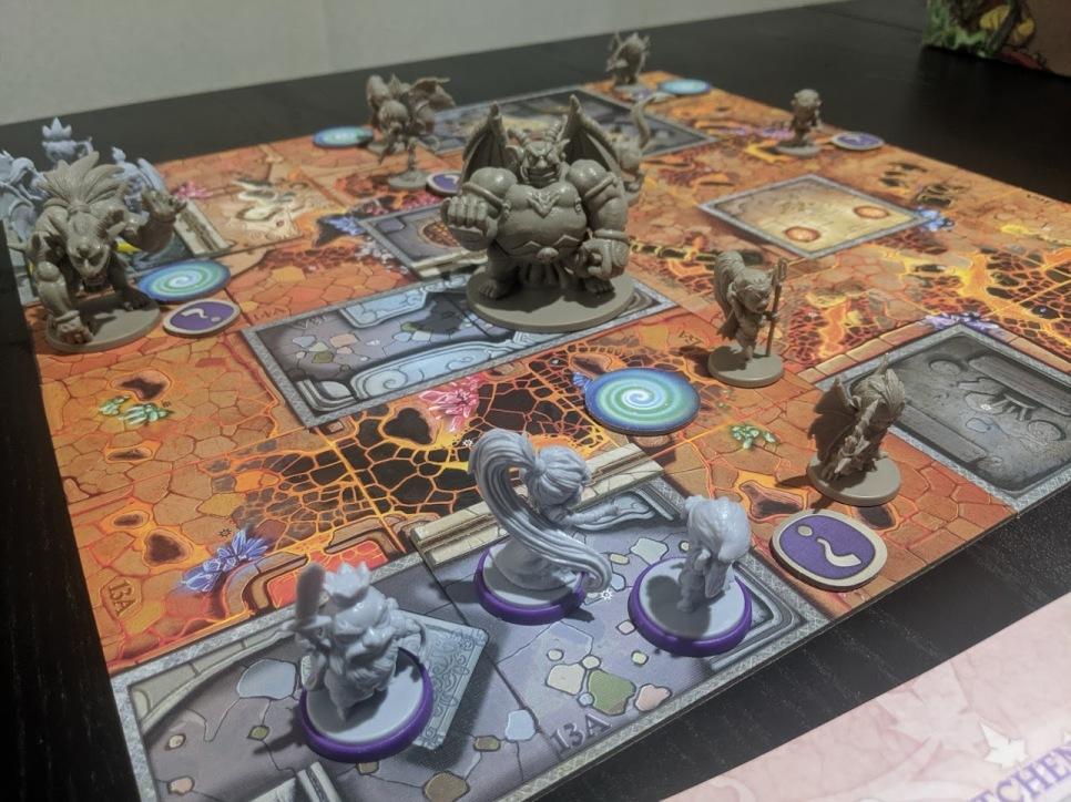 Half a board set up.