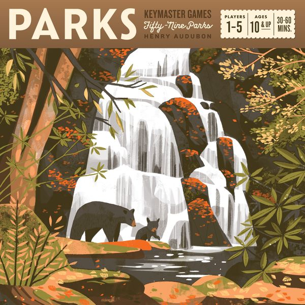 Parks box cover shows a bear and its cub standing in front of a waterfall.