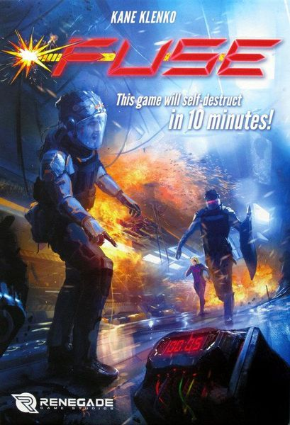 Fuse box art shows a man looking at a time bomb, while people in the background rush to help.